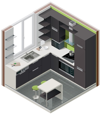 isometric kitchen icon Çizim