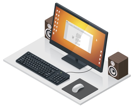 workplace with computer and peripherals  Stock Vector - 13921852