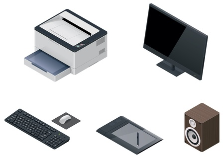 hardware icon: computer devices icon set Illustration