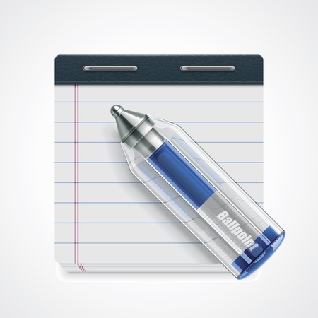 ball pen: pen and notepad icon
