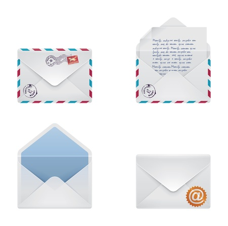 envelope with letter: busta icon set