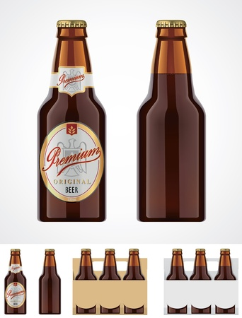 brown bottle: Vector beer bottle icon