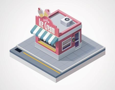 sidewalk cafe: isometric ice cream store