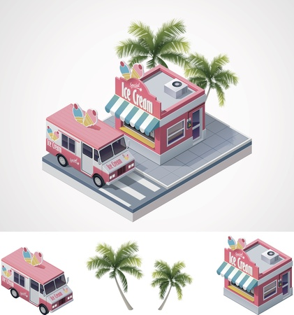 sidewalk cafe: isometric ice cream store and truck