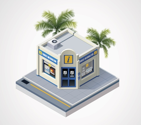 company building: isometric tourist information center