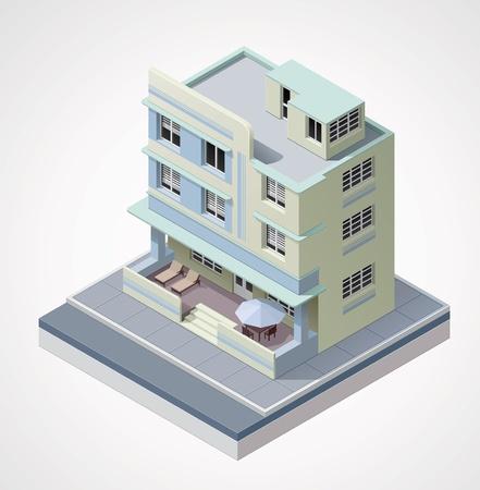 hospedaje: edificio isométrico