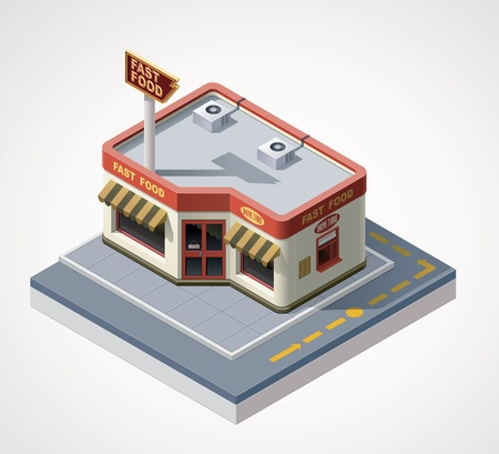 fast food restaurant: isometric fast food cafe