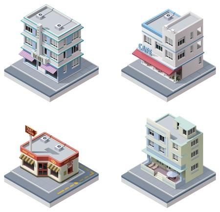 isometrische gebouwen ingesteld