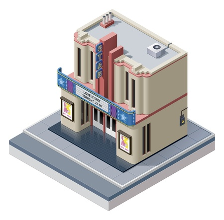 holiday movies:  isometric cinema building Illustration