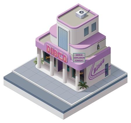 isometrische nachtclub gebouw