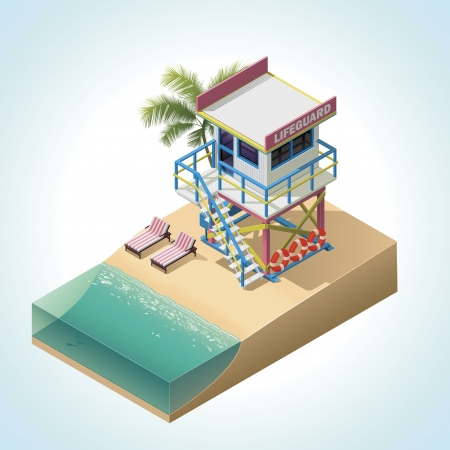 shoreline:  isometric lifeguard tower Illustration