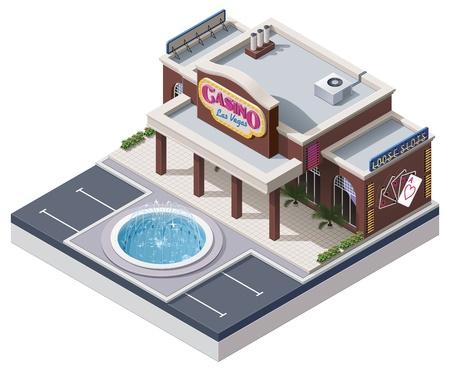 window case: Vector isometric casino building Illustration
