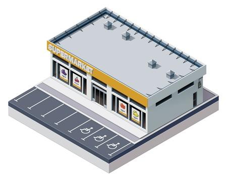 épület: Vector isometric szupermarket épület