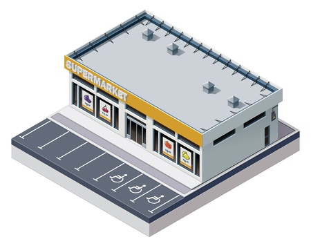 store window: Vector isometrische supermarkt gebouw