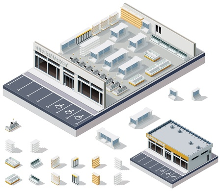 supermarket cash: Vector isometric DIY supermarket interior plan  Illustration