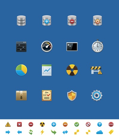 webmaster website:  common website icons. Database  Illustration