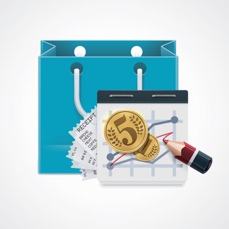 gastos: Vector icono compras costoso