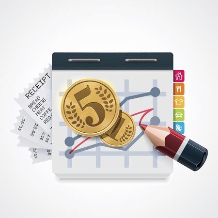gastos: Costos internos vectoriales aumentar icono Vectores