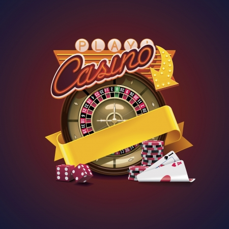 roulette wheel: Vector casino icon Illustration