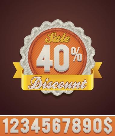rebate: Vector discount badge Illustration