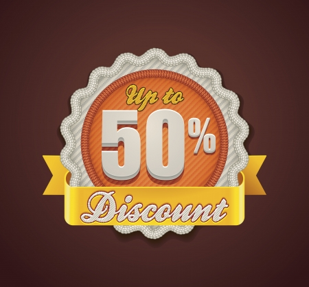clothing label: Vector up to 50  discount badge
