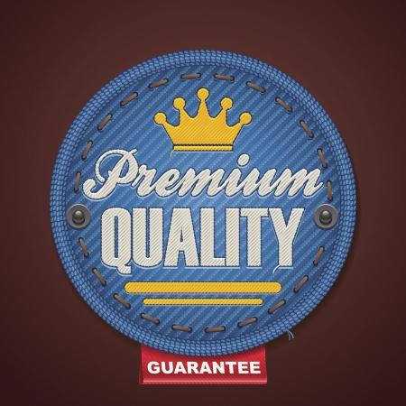 denim jeans: Vector premium quality fabric badge Illustration