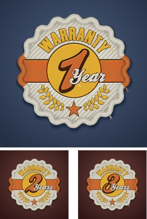 one year old: Vector warranty term fabric badge Illustration