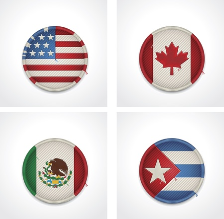 central america: flags of countries as fabric badges