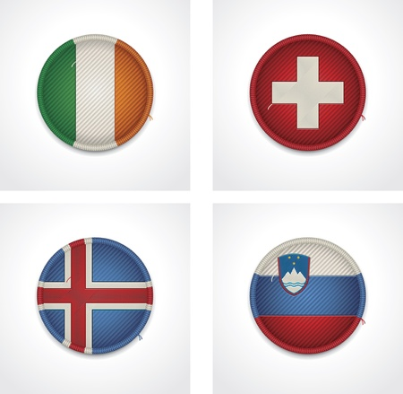 slovenia: flags of countries as fabric badges