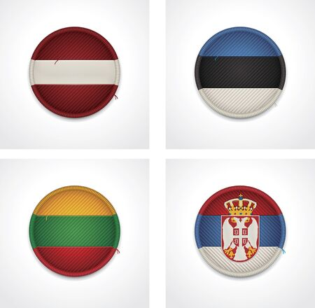 flags of countries as fabric badges Vector