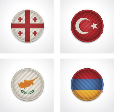 georgia flag:  flags of countries as fabric badges Illustration