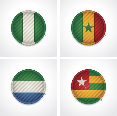 togo: Flags of countries as fabric badges Illustration