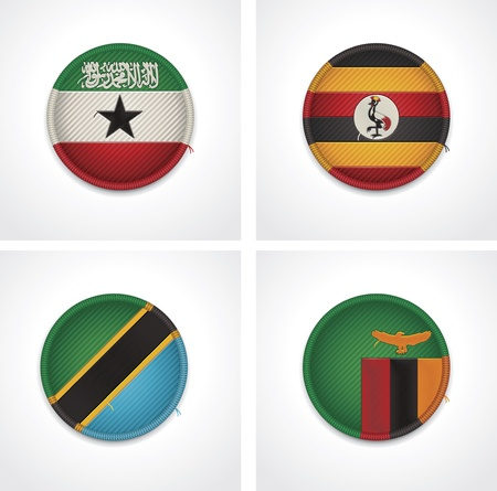 zambia: Flags of countries as fabric badges Illustration