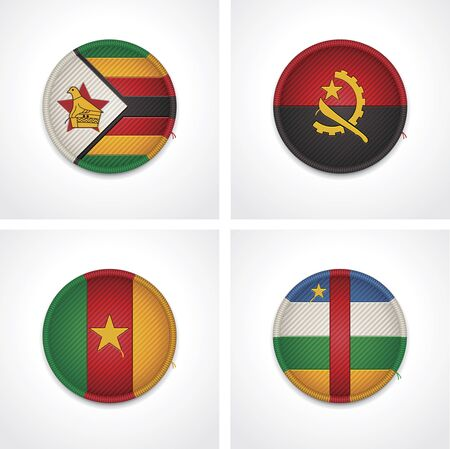 Flags of countries as fabric badges Illustration
