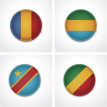 republic of the congo: Flags of countries as fabric badges Illustration
