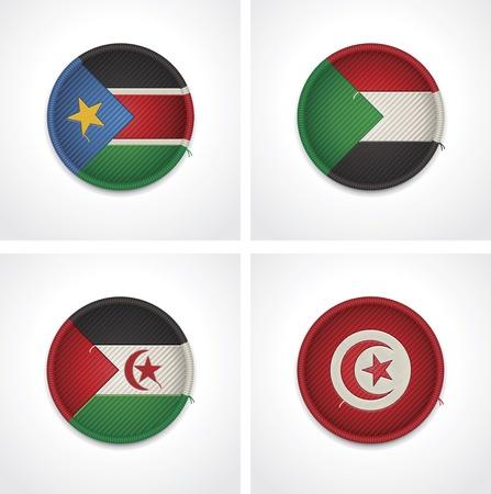sahrawi arab democratic republic: Flags of countries as fabric badges Illustration