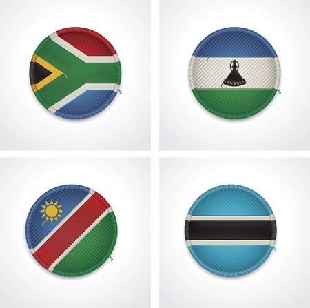 namibia: Flags of countries as fabric badges Illustration