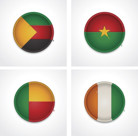 cote d ivoire: Flags of countries as fabric badges Illustration