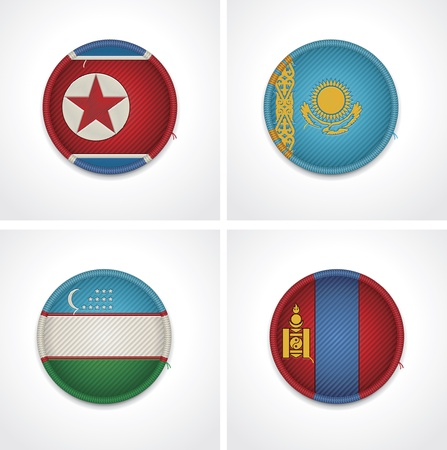 uzbekistan: Flags of countries as fabric badges Illustration