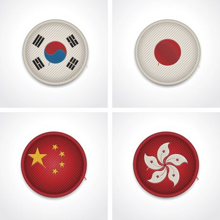 korea flag: Flags of countries as fabric badges Illustration