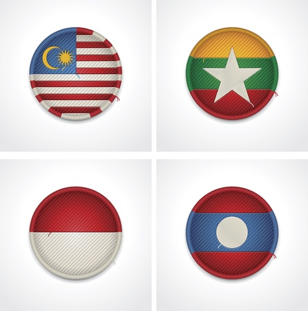 myanmar: Flags of countries as fabric badges Illustration