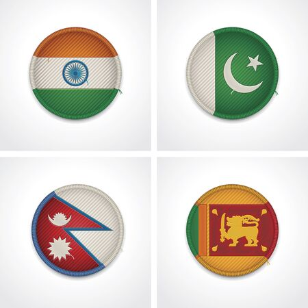 pakistan flag: Flags of countries as fabric badges Illustration