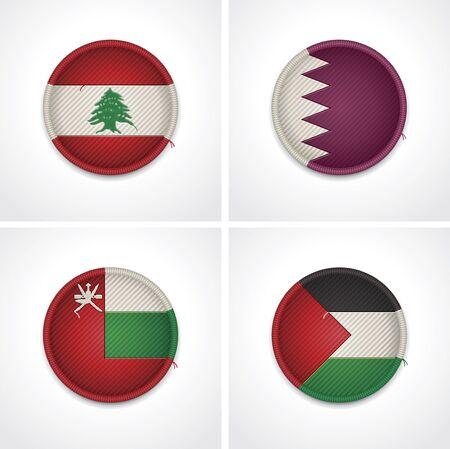 palestine: Flags of countries as fabric badges Illustration