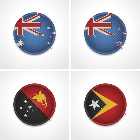 Flags of countries as fabric badges Stock Vector - 15865037