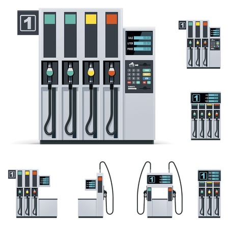 filling station: Gas station pumps set