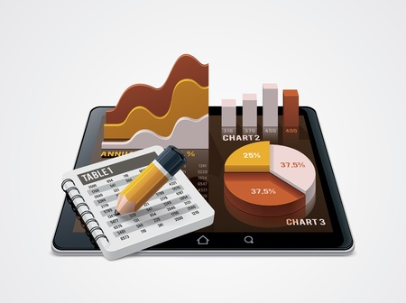 스프레드 시트: 벡터 차트와 표 편집기 아이콘