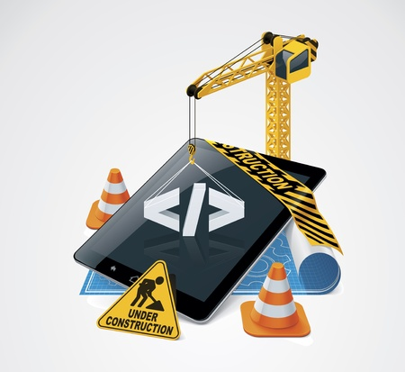 building construction site: Vector website construction icon