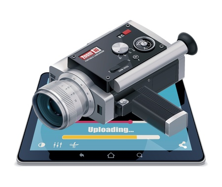 home video camera: Video uploading icon Illustration