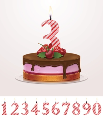 pink cake: Vector birthday cake with candle