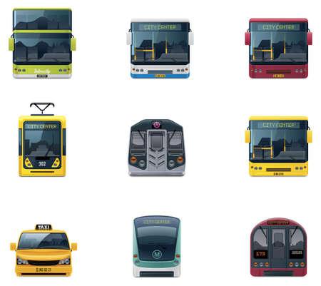 tramway: Vector icone di trasporto pubblico